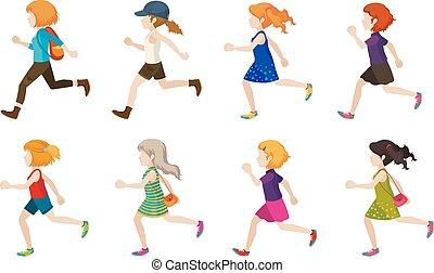 Faceless kids running