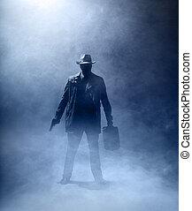 Faceless Killer - Faceles man with a gun and a briefcase ...