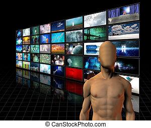 Faceless man before video screens