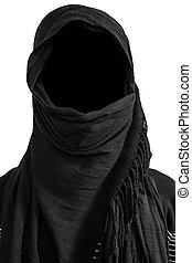 Faceless man under black veils, isolated on white background