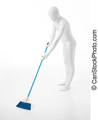 faceless man with broom