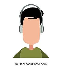 Faceless man with music headphones
