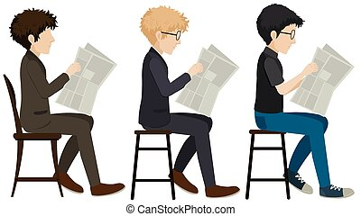 Faceless men reading