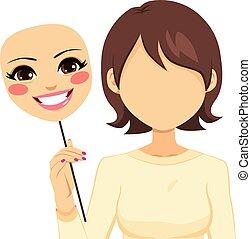 faceless, mulher, máscara, segurando, feliz