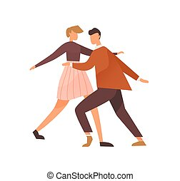 Faceless pair dancing lindy hop or boogie woogie. Cute man and woman enjoy party. Swing dancers couple of 1940s. Flat vector illustration isolated on white background.