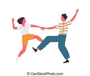 Faceless pair holding hands and dancing lindy hop dance ...