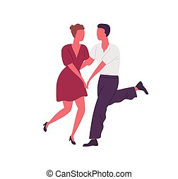 Faceless people holding hands and dancing lindy hop together. Man and woman dance swing or boogie woogie. Retro couple of dancers. Flat vector cartoon illustration isolated on white.