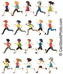 Faceless people running
