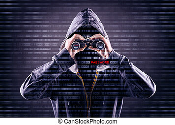 faceless person is looking for a password