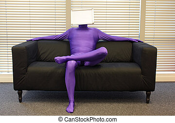 faceless relaxed  man  with blank whiteboard  - messenger -  sitting on sofa