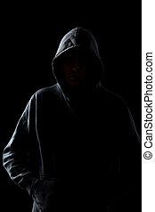 faceless, sujeito, em, hoodie, em, a, escuridão