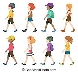 Faceless teenagers walking
