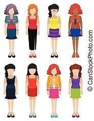 Faceless templates of fashionable women