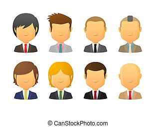 faceless, traje, avatars, estilos, vario, macho, llevando, pelo