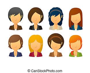 faceless, traje, hembra, avatars, estilos, vario, llevando, pelo
