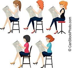 Faceless women reading