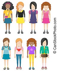 Faceless young ladies - Eight faceless young ladies on a...