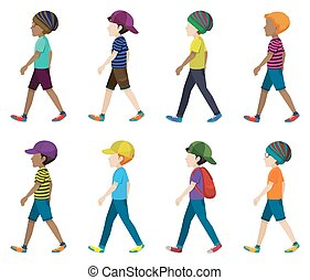 Faceless young men walking