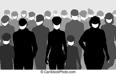 Facemask people silhouettes