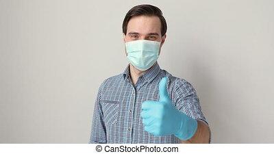 facemask, pouces, gris, usures, protecteur, homme, gants, haut, projection