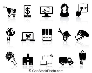 facendo compere linea, icone