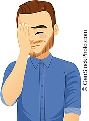 Facepalm Man Frustration - Illustration of young man with...