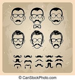 faces, à, moustaches, lunettes soleil