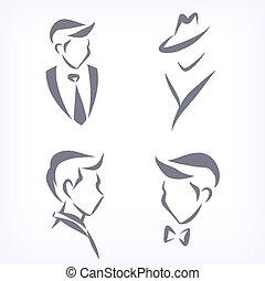 faces., 男性, コレクション, 象徴的