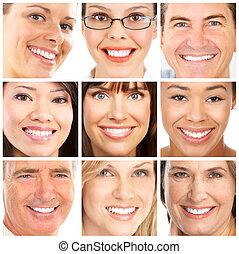 Faces and smiles - Faces of smiling people. Healthy teeth. ...