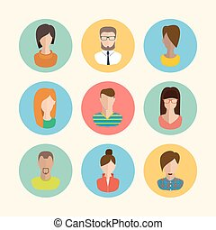 Faces avatars. Flat style vector icons set