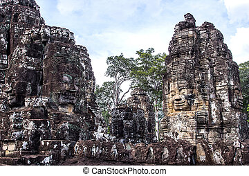 faces, de, ancien, temple bayon, à, wat angkor, siem,...