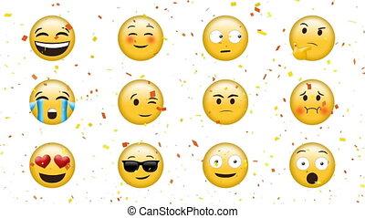 faces, emojis, différent