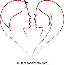 faces in red heart, vector - man and woman in red heart...