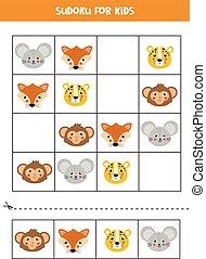 faces., lindo, animal, feliz, sudoku