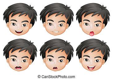 Faces of a boy