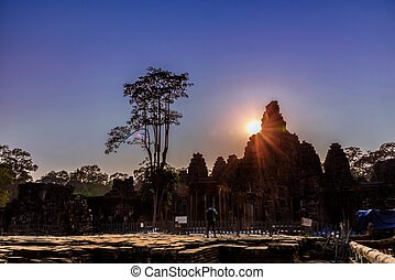 Bayon Temple in Angkor Thom, Siem Reap, Cambodia. - Faces of...