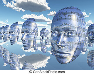 Faces of Music - Floating cloned faces covered with musical...