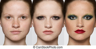 Faces of the same woman with fashion makeup. Makeover concept.