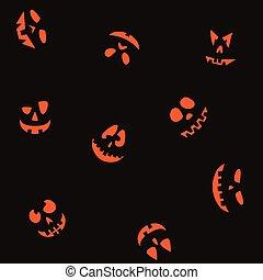 faces, seamless, fond, 4, mettez niveau o'lantern, halloween
