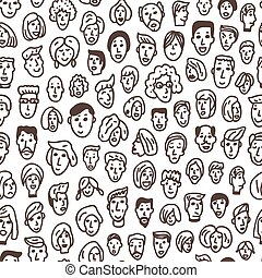 faces - seamless vector background