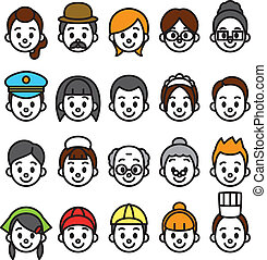 faces set, occupational category, vector file