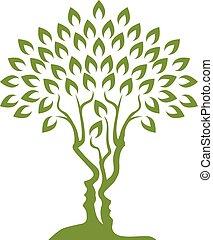 Faces Tree Optical Illusion Concept