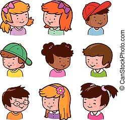 faces., vettore, diverso, bambini, illustrazione