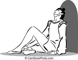 facet, posiedzenie, podłoga