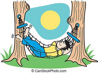 facet, spanie, w, hamak, chwyćcie sztukę