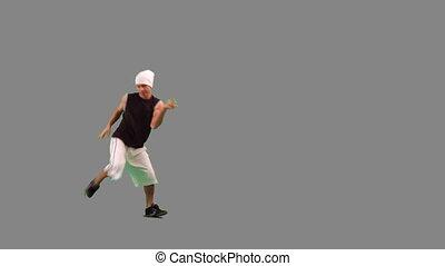 facet, taniec, backgroung, biodro-skaczą, szary