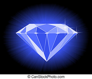 faceted blue diamond