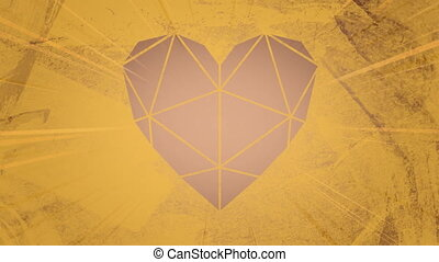 Animation of heart shape filled with triangle design in brown on a moving textured, weathered brown background. Abstract shape, colour and movement concept digitally generated image