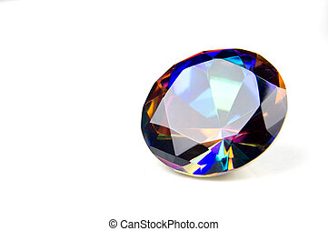 Faceted round cut mystic topaz gemstone on white background