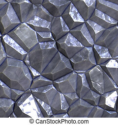 Faceted ore deposits - Crystalline mineral and metal shiny...